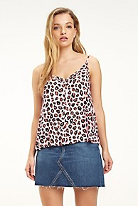 타미 힐피거 우먼 민소매 탑 Tommy Hilfiger Pink Leopard Camisole,LEOPARD PRINT