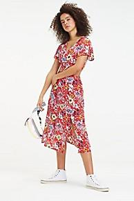 타미 힐피거 우먼 플로럴 페스티발 슬릿 원피스 Tommy Hilfiger Floral Festival Slit Dress,FLORAL FLAME SCARLET