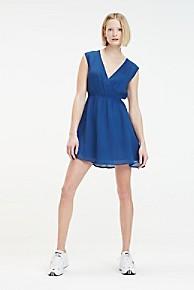 타미 힐피거 우먼 브이넥 원피스 Tommy Hilfiger V-Neck Fluid Dress,ESTATE BLUE
