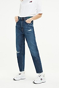 타미 힐피거 Tommy Hilfiger Recycled Cotton High Rise Tapered Fit Jean,BLUE