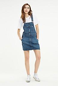 타미 힐피거 우먼 데님 멜빵 원피스 Tommy Hilfiger Recycled Denim Overall Dress,MEDIUM BLUE
