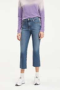 타미 힐피거 Tommy Hilfiger Cropped Flare Fit Jean,MID BLUE
