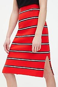 타미 힐피거 Tommy Hilfiger Knit Stripe Pencil Skirt,FLAME SCARLET