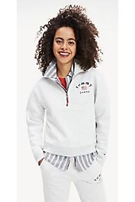 타미 힐피거 Tommy Hilfiger Modern Logo Zip Fleece,PALE GREY HEATHER