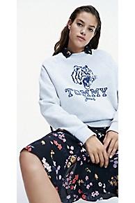타미 힐피거 Tommy Hilfiger Logo Raglan Sweatshirt,PALE GREY HEATHER