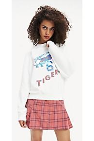 타미 힐피거 Tommy Hilfiger Logo Raglan Sweatshirt,SNOW WHITE