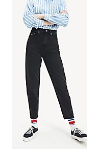 타미 힐피거 Tommy Hilfiger Repurposed High Rise Tapered Fit Jean,BLACK RIGID