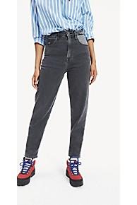 타미 힐피거 Tommy Hilfiger Repurposed High Rise Tapered Fit Jean,GREY PATCHWORK