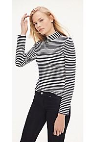 타미 힐피거 Tommy Hilfiger Mock Neck Stripe Long Sleeve T-Shirt,CLASSIC WHITE / NAVY