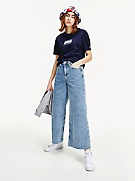 타미 진스 와이드 레그 청바지 TOMMY JEANS Wide Leg Jean,MID BLUE RIGID