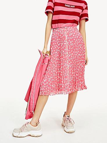 타미 힐피거 스커트 Tommy Hilfiger Pleated Button Skirt,FLORAL PRINT / GLAMOUR PINK