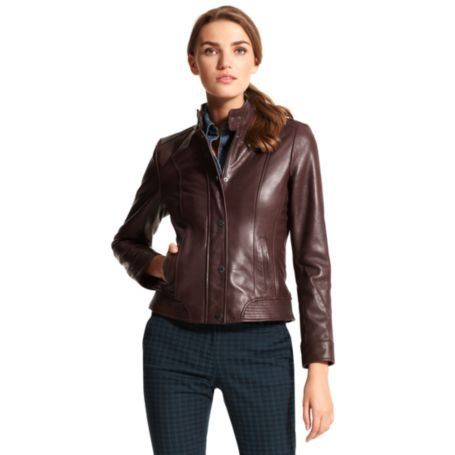 Image for COLLARED LEATHER JACKET from Tommy Hilfiger USA