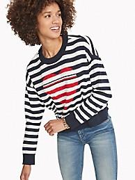 타미 힐피거 우먼 하트 스트라이프 스웨터 Tommy Hilfiger Essential Heart Stripe Sweater,SKY CAPTAIN STRIPE