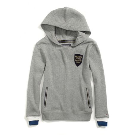 Tommy Hilfiger Th Kids Waffle Knit Hoodie - Med Grey Heather - 12-18M