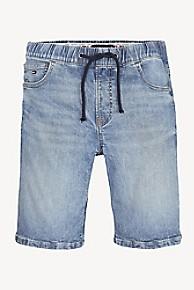 타미 힐피거 청반바지 Tommy Hilfiger TH Kids Relaxed Fit Drawstring Jean Short,LIGHT WASH