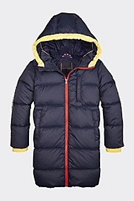 타미 힐피거 키즈 후드 숏패딩 - 블랙 아이리스 Tommy Hilfiger TH Kids Recycled Down Hooded Jacket,BLACK IRIS