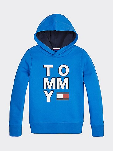 타미 힐피거 Tommy Hilfiger TH Kids Signature Hoodie,IMPERIAL BLUE