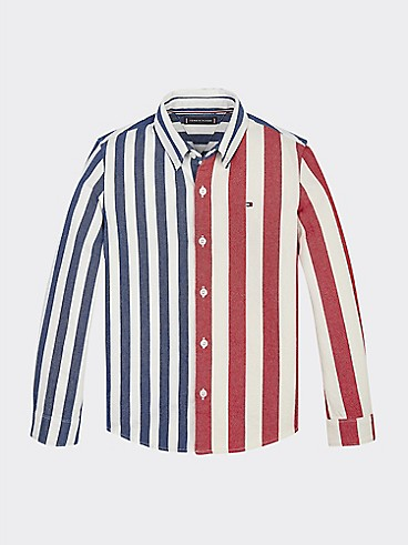 타미 힐피거 Tommy Hilfiger TH Kids Stripe Denim Shirt,RED STRIPE /BLACK IRIS