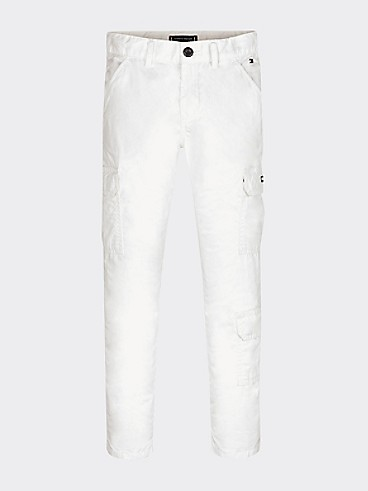 타미 힐피거 Tommy Hilfiger TH Kids Cargo Pants,WHITE