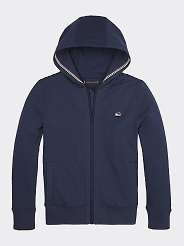 타미 힐피거 Tommy Hilfiger TH Kids Stripe Trim Hoodie,TWILIGHT NAVY