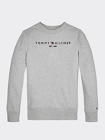 타미 힐피거 Tommy Hilfiger TH Kids Signature Sweatshirt,LIGHT GREY HEATHER