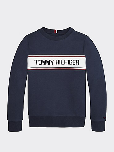 타미 힐피거 Tommy Hilfiger TH Kids Signature Sweatshirt,TWILIGHT NAVY