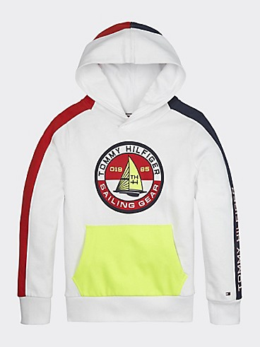 타미 힐피거 Tommy Hilfiger TH Kids Sailing Hoodie,WHITE