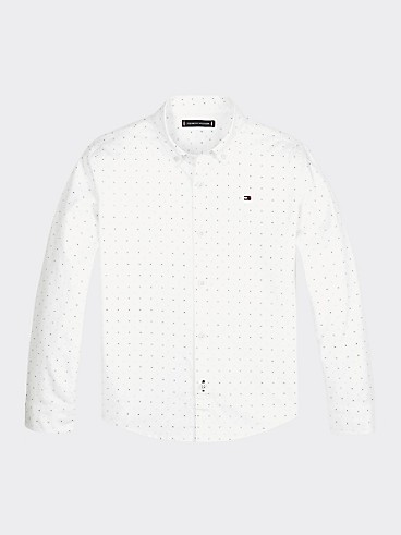 타미 힐피거 Tommy Hilfiger TH Kids Microprint Shirt,WHITE