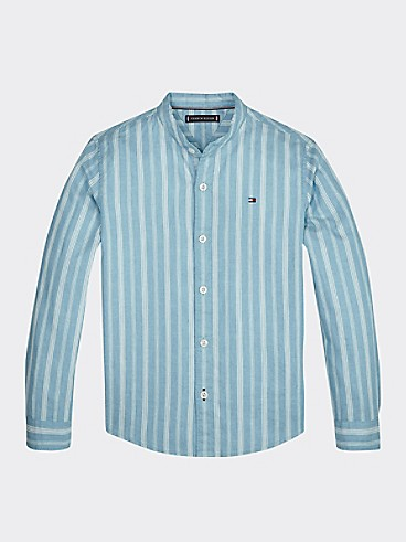 타미 힐피거 Tommy Hilfiger TH Kids Cotton Linen Stripe Shirt,EXOTIC TEAL