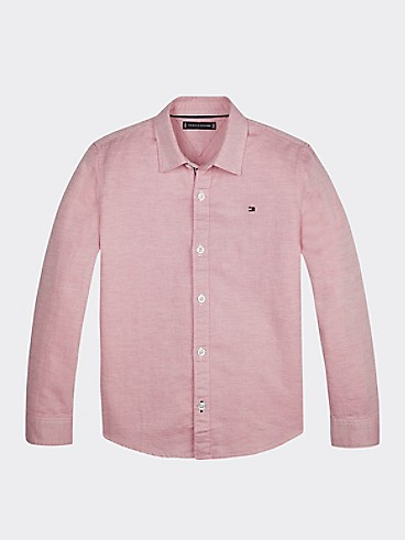 타미 힐피거 Tommy Hilfiger TH Kids Cotton Linen Shirt,LIGHT CERISE PINK