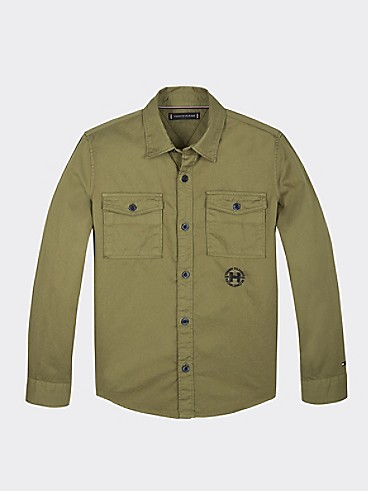 타미 힐피거 Tommy Hilfiger TH Kids Utility Shirt,UNIFORM OLIVE
