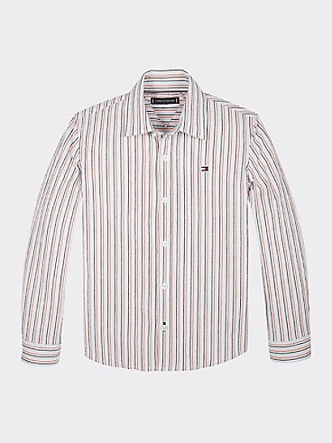 타미 힐피거 Tommy Hilfiger TH Kids Seersucker Stripe Shirt,WHITE / MULTI