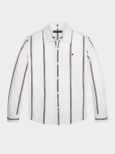 타미 힐피거 Tommy Hilfiger TH Kids Signature Stripe Shirt,WHITE