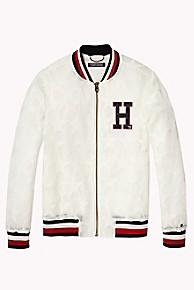 타미 힐피거 걸즈 별무늬 붐버 자켓 Tommy Hilfiger TH Kids Mesh Star Bomber Jacket,BRIGHT WHITE