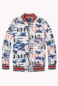 타미 힐피거 걸즈 별 프린트 붐버 자켓 Tommy Hilfiger TH Kids Star Print Bomber Jacket,MARSHMALLOW