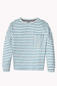 타미 힐피거 걸즈 맨투맨/스웻셔츠 Tommy Hilfiger TH Kids Stripe Boatneck Sweatshirt,ALLURE