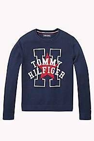 타미 힐피거 걸즈 스웨터 Tommy Hilfiger TH Kids Star + H Sweater,BLACK IRIS