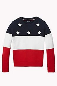 타미 힐피거 걸즈 스웨터 Tommy Hilfiger TH Kids Stars and Stripes Sweater,BLACK IRIS/WHITE/RED