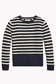 타미 힐피거 걸즈 스웨터 Tommy Hilfiger TH Kids Stripe Sparkle Sweater,BLACK IRIS/GOLD LUREX