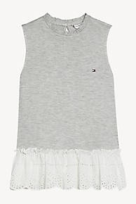 타미 힐피거 Tommy Hilfiger TH Kids Ruffle Sleeveless Top