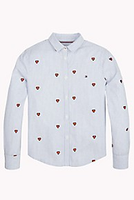 타미 힐피거 Tommy Hilfiger TH Kids Hearts Shirt,SHIRT BLUE/MULTI