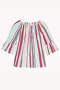 타미 힐피거 Tommy Hilfiger TH Kids Candy Stripe Top,ALMOND BLOSSOM