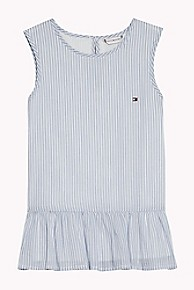 타미 힐피거 Tommy Hilfiger TH Kids Stripe Sleeveless Top,LIGHT BLUE/BRIGHT WHITE