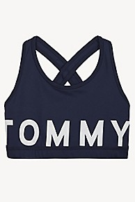 타미 힐피거 Tommy Hilfiger TH Kids Sport Logo Bra,BLACK IRIS