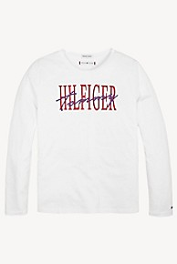 타미 힐피거 Tommy Hilfiger TH Kids Logo Long-Sleeve T-Shirt,BRIGHT WHITE