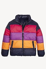 타미 힐피거 Tommy Hilfiger TH Kids Reversible Puffer Jacket,BLACK IRIS/ MULTI