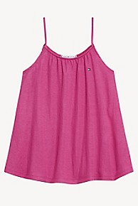 타미 힐피거 Tommy Hilfiger TH Kids Spaghetti Strap Top,FUCHSIA RED
