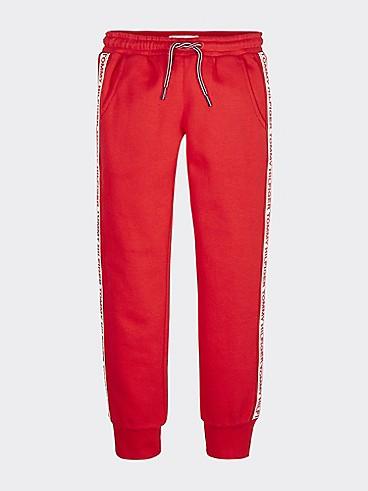 타미 힐피거 Tommy Hilfiger TH Kids Essential Tape Sweatpants,RACING RED