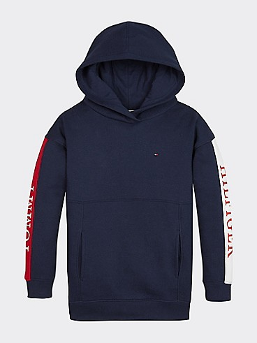 타미 힐피거 Tommy Hilfiger TH Kids Colorblock Logo Hoodie,BLACK IRIS