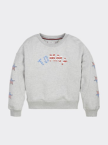 타미 힐피거 Tommy Hilfiger TH Kids All Americana Sweatshirt,GREY HEATHER